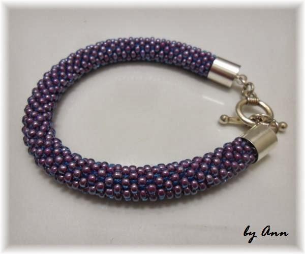 bransoletka typu croched rope fioletowa fiolet z poświatą