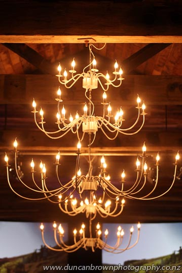 A chandelier in the Tom McDonald Cellar, Church Rd Winery, Taradale photograph