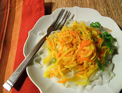 Plate of Shredded Root Veggies over Pasta