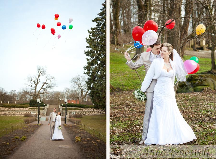 värvilised õhupallid-pulmafoto