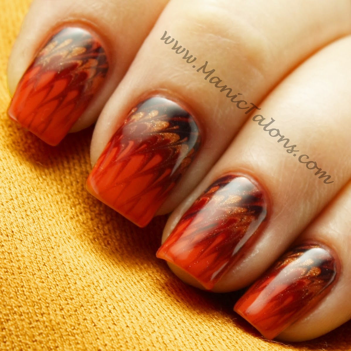 Manic Talons Nail Design: Thanksgiving Needle Drag Nail Art