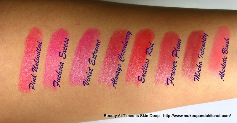 Swatches and photo of the shades of Oriflame The ONE Lipsticks