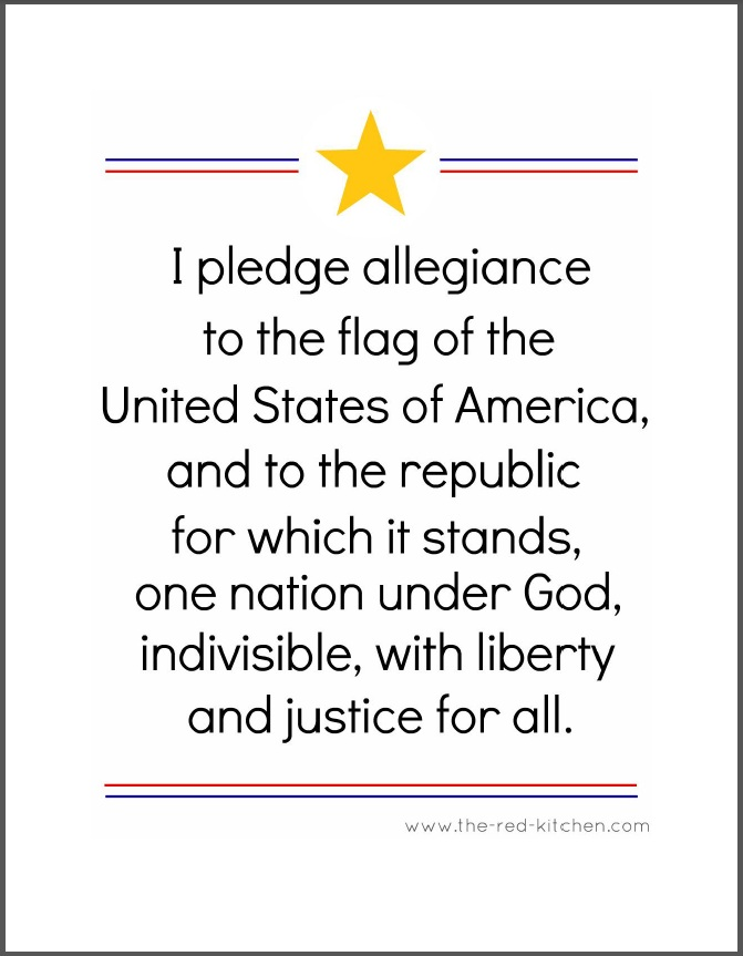 The Red Kitchen The Pledge Of Allegiance Free Printables