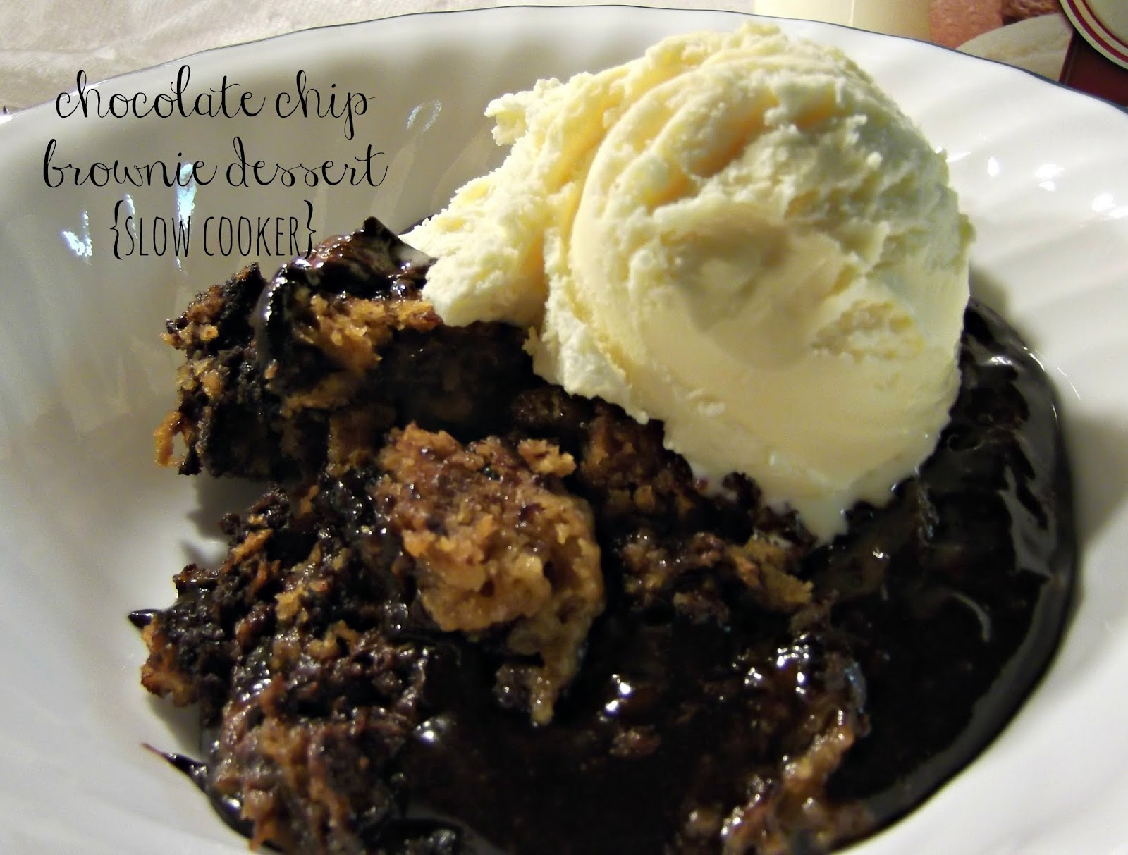 Chocolate Chip Brownie Dessert {slow cooker} | Sugar for ...