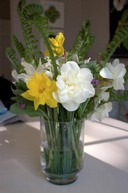 The Garden Appreciation Society, daffodils, ferns, Virginia bluebells