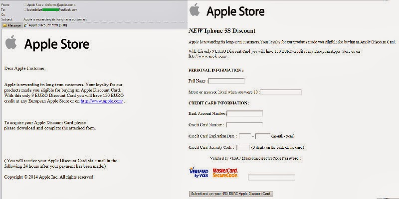 a new phishing campaign targeting european users of apple store which promises to offer a discount