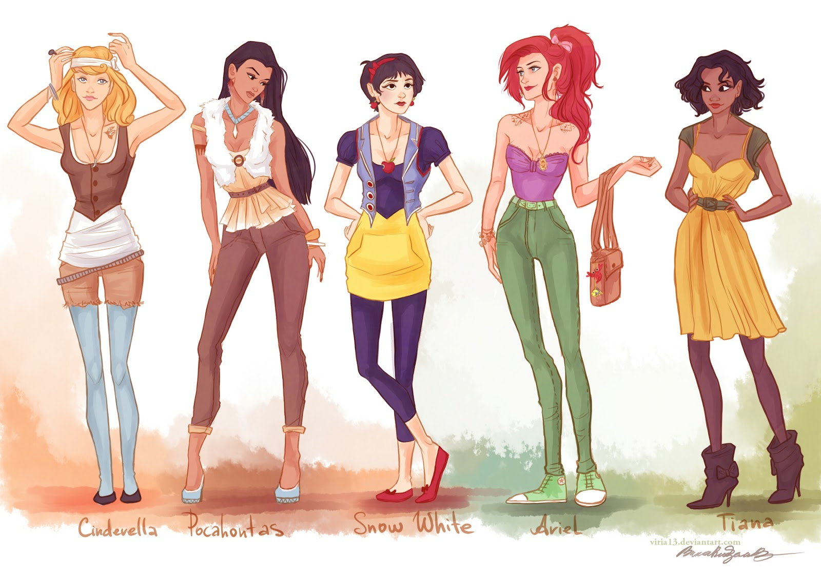 Set Of Drawings Showing Women From Animated Movies  Mostly Disney