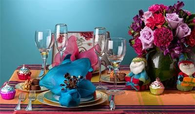 mesa para ceia de natal colorida