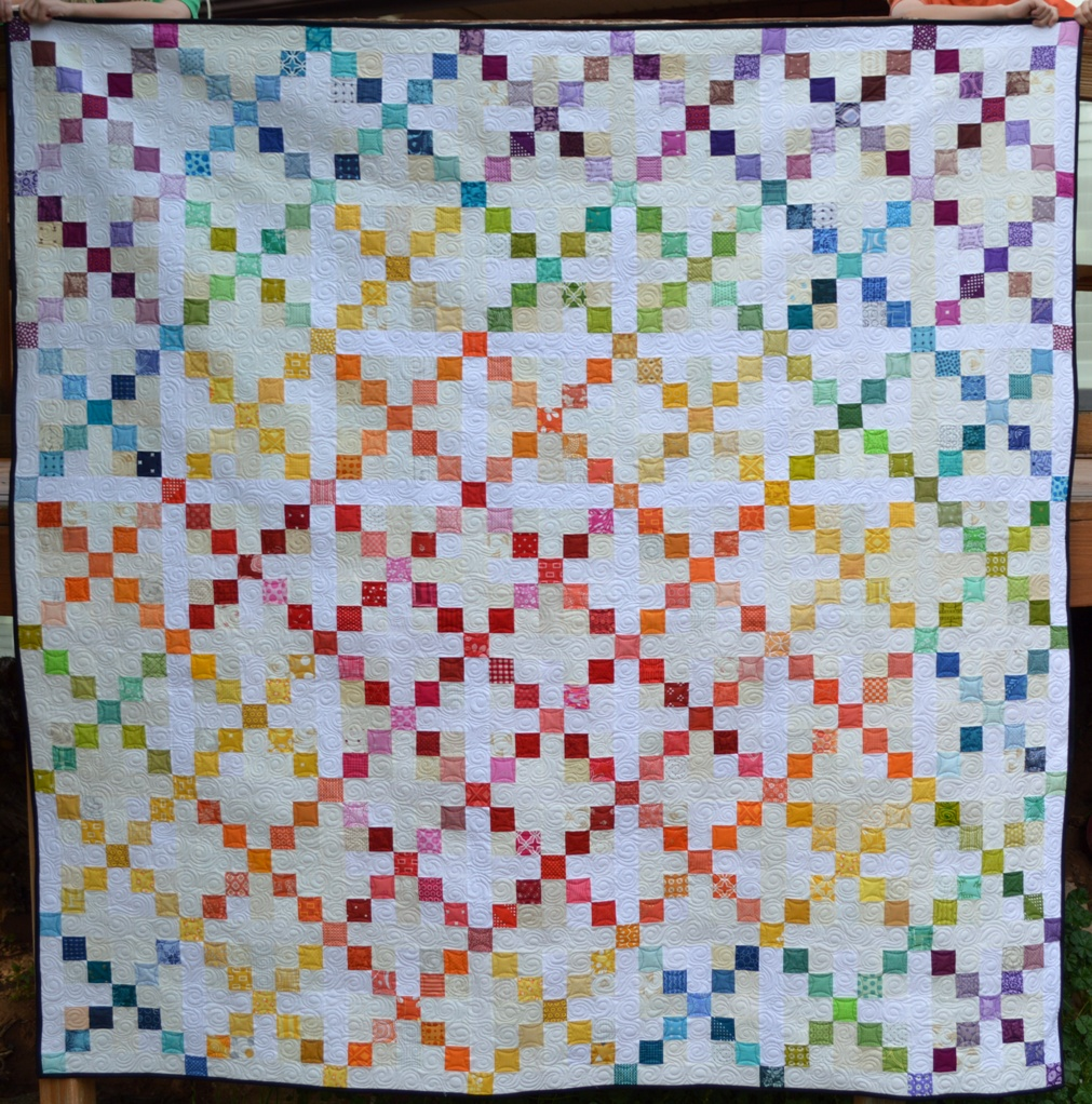 Happy Quilting: Super Scrappy Single Irish Chain - A Finish and Tutorial