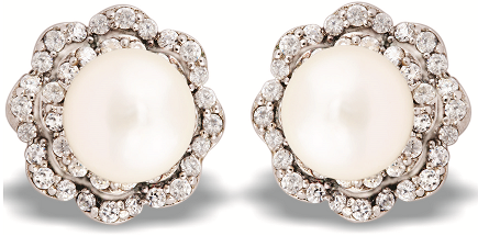 Tanya Rossi Pearl and Crystal Stud Earrings TRE 419 Rs 2750