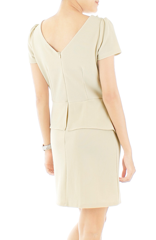 Pearls & Ribbon Peplum Dress - Eggshell