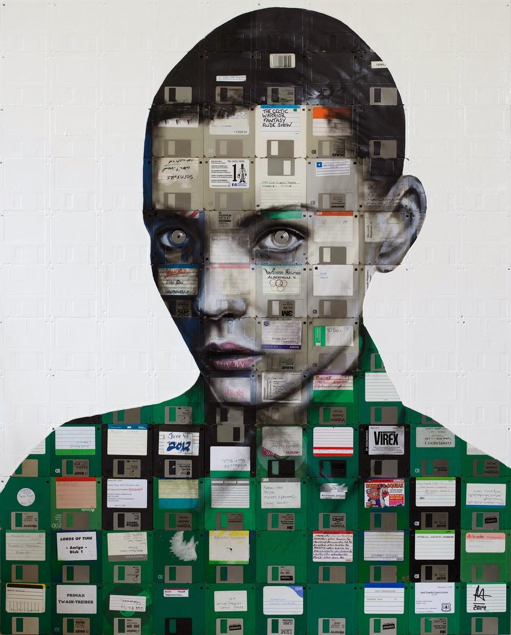 Obras de Arte con Disquetes Reciclados