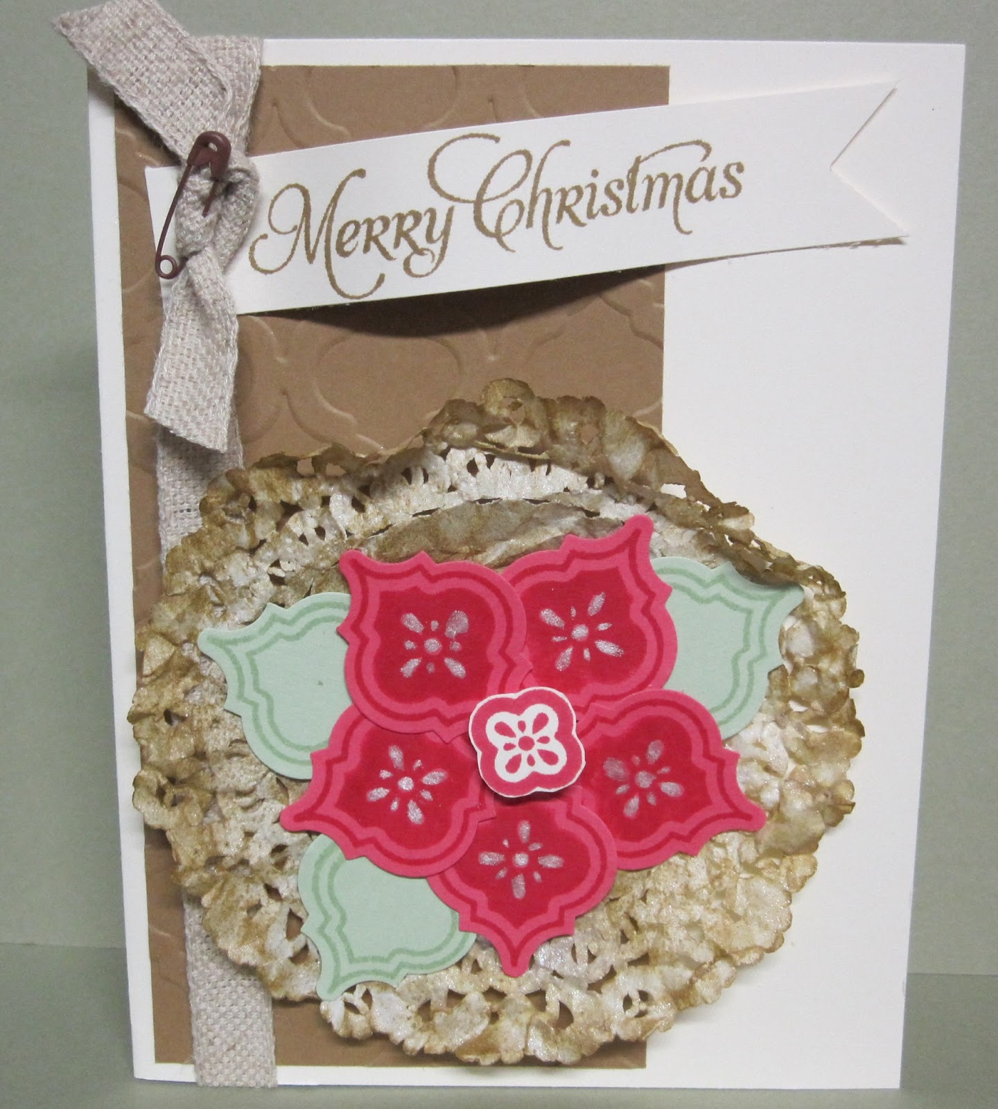 Mixed media paper crafting merry christmas card - Krafting With Karen Mosaic Madness Poinsettia Card