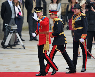 Dressed in his red Irish Guards uniform and accompanied by his best man, his brother Prince Harry