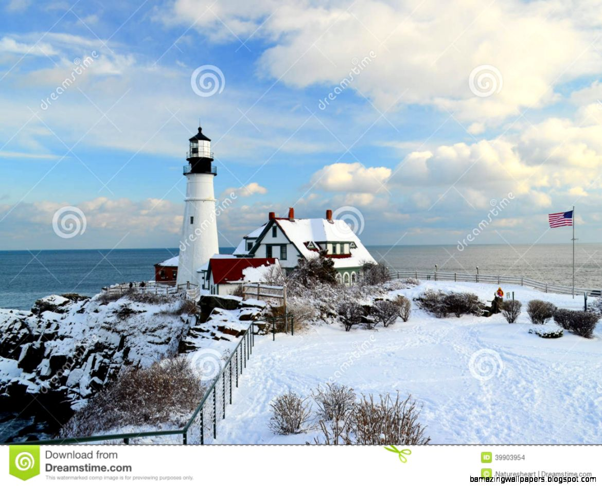 Maine Lighthouse In Winter Stock Photo   Image 39903954