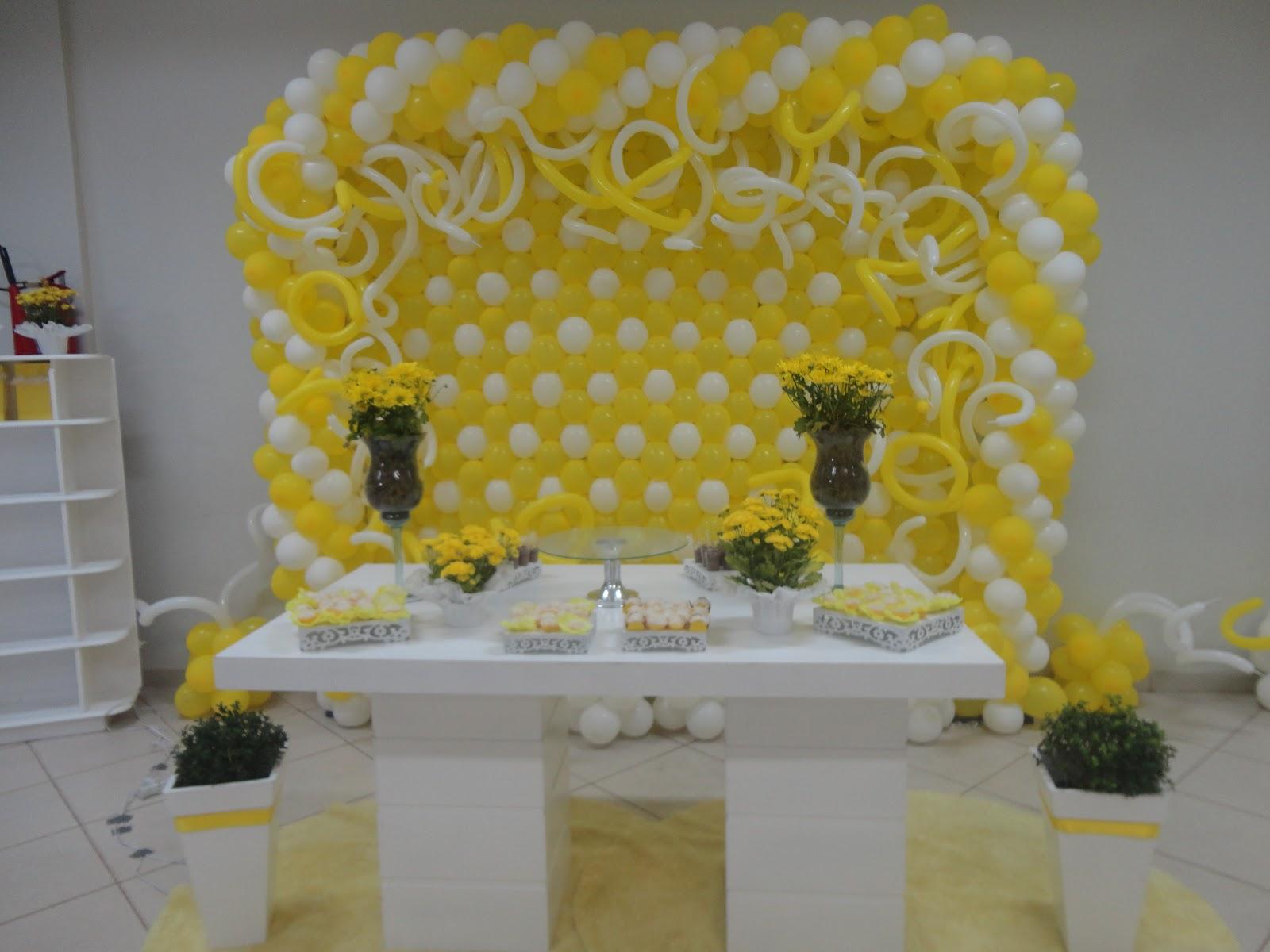 decoracao de festa infantil azul e amarelo:Você na Festa: Festa adulto Amarelo e Branco