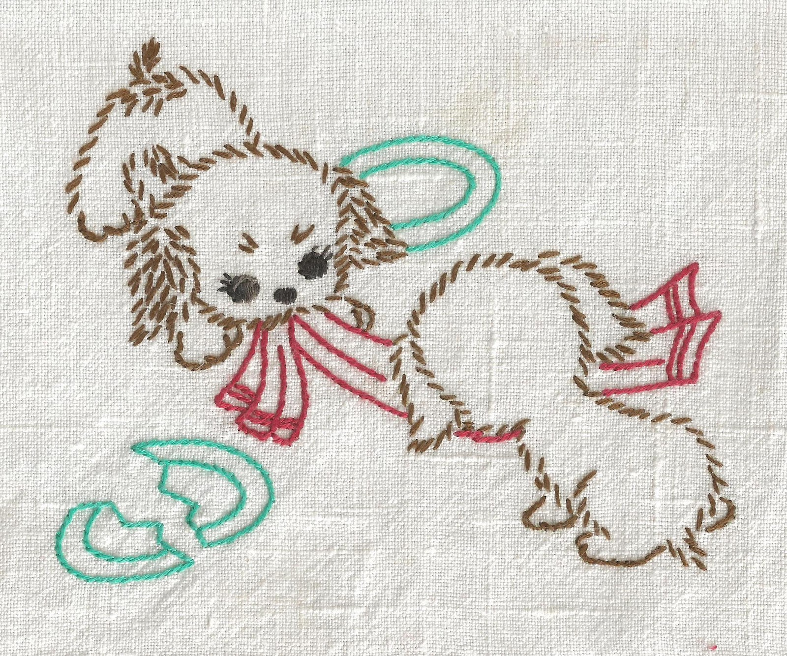 Vintage Puppy Dog Tea Towel Embroidery