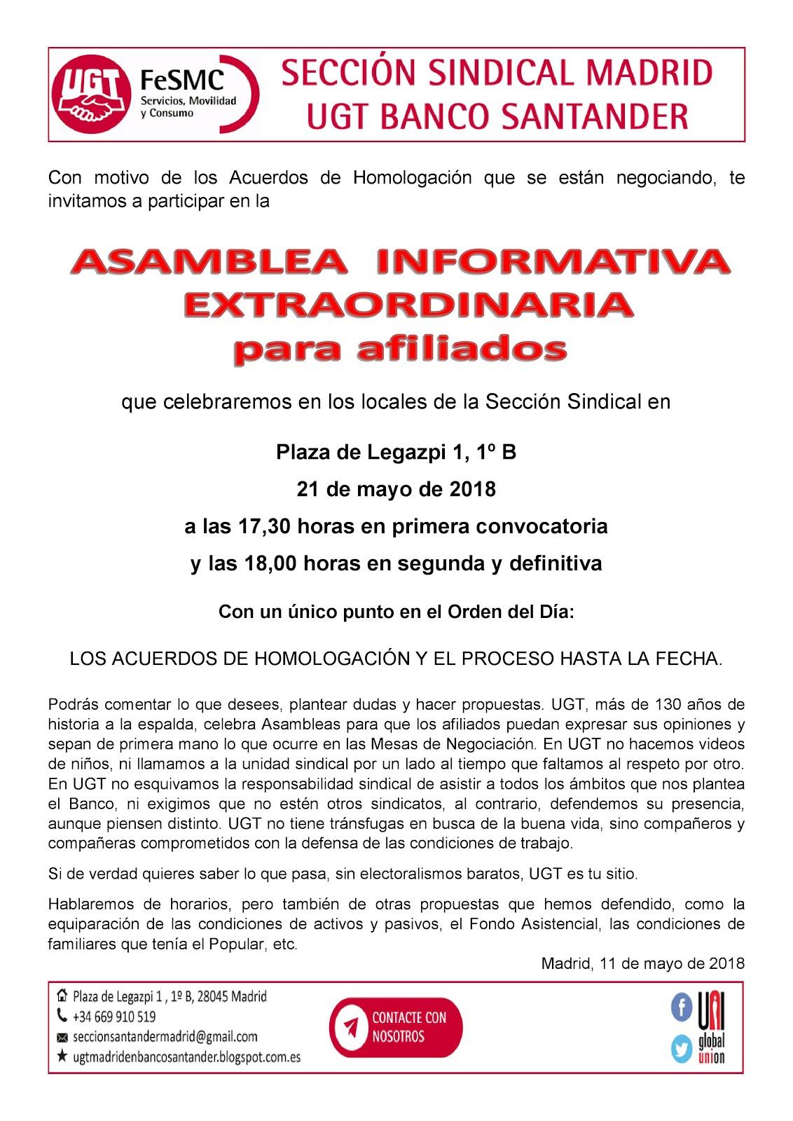 ASAMBLEA EXTRAORDINARIA 21/05/2018