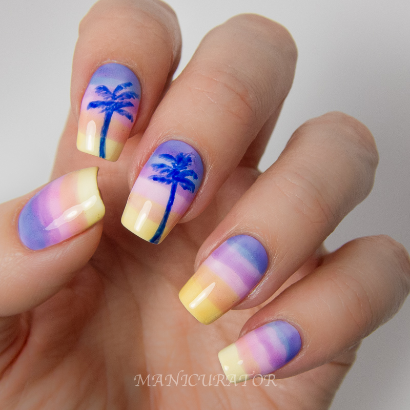 OPI-Sheer-Tints-Summer-Gradient-Palm-Tree-Nail-Art