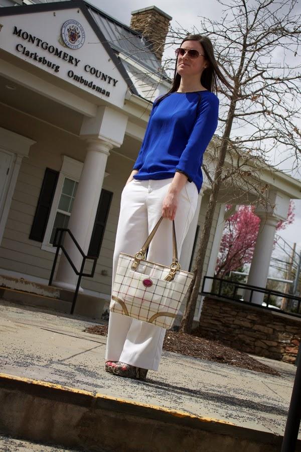 White pants, Forever 21 pants, cobalt, blue, Target top, Coach bag, Nine West wedges, snakeskin wedges, Nine West snakeskin wedges