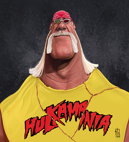 """Caricatura de """"Hulk Hogan"""" por Alberto russo"""