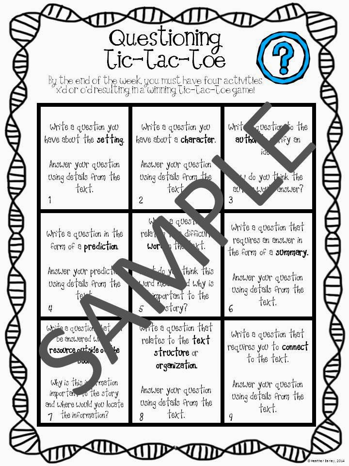 http://www.teacherspayteachers.com/Product/Reading-Comprehension-Choice-Boards-Tic-Tac-Toe-Discussions-Cards-Plans-1269293