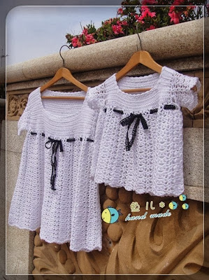 crochet baby top and dress, crochet patterns