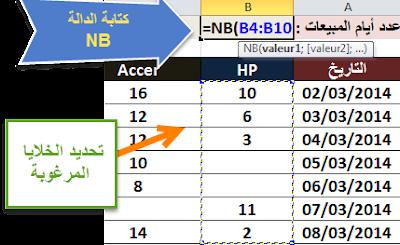 استعمال الدالة NB في اكسيل 2010