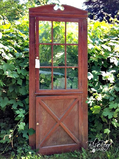 Blue roof cabin vintage door front turned into a cabinet - Cabinet made from old doors ...