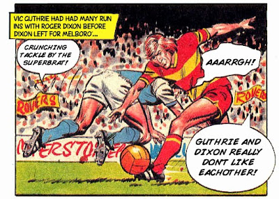 Vic Guthrie of Melchester Rovers challenges Roger Dixon