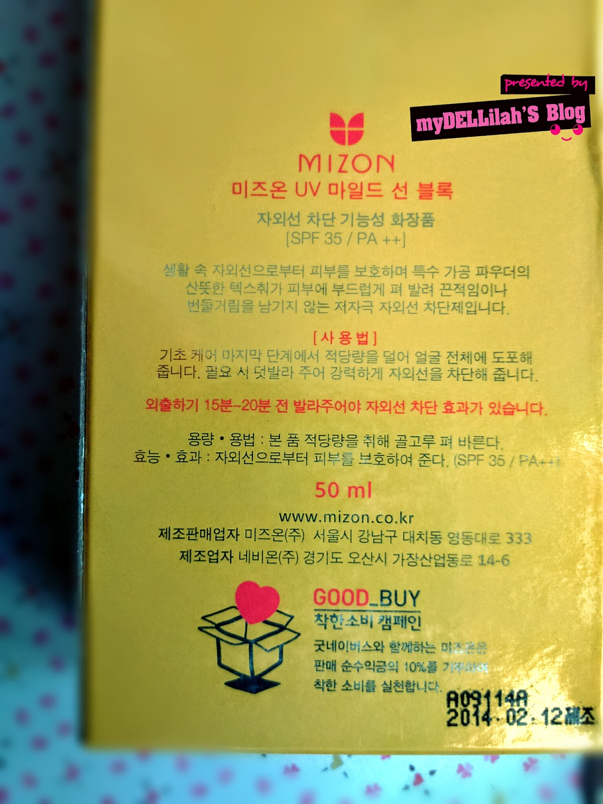 Mizon Sunscreen UV Mld Sun Block REVIEW