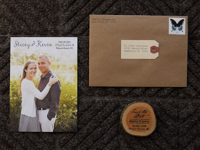 Save the date with wood slice magnet