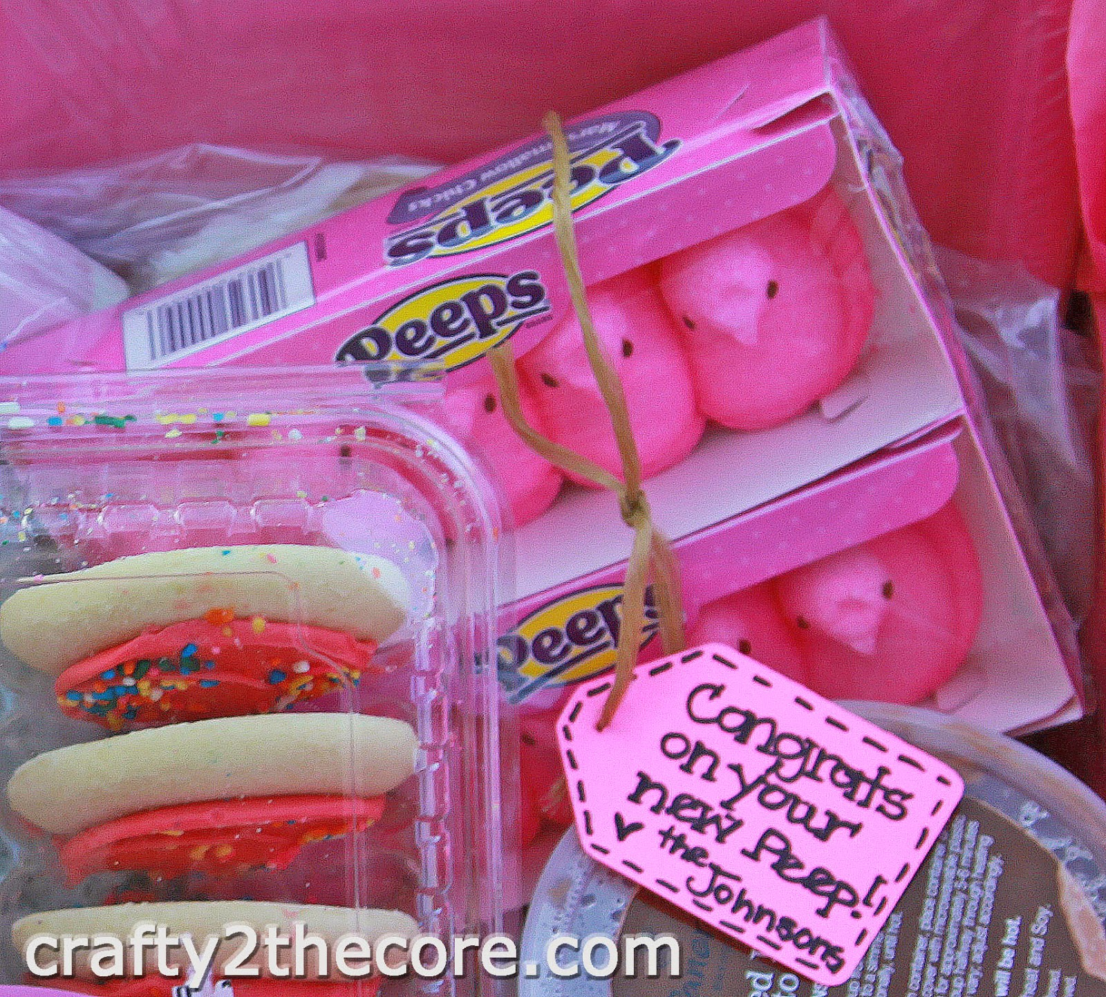 ~Cute Tag idea on PEEPS to Welcome a new baby included in a meal box for family.