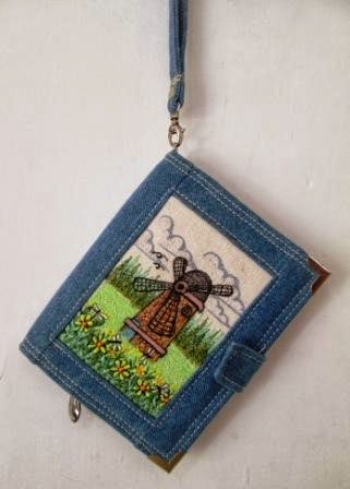 windmill embroidered wallet