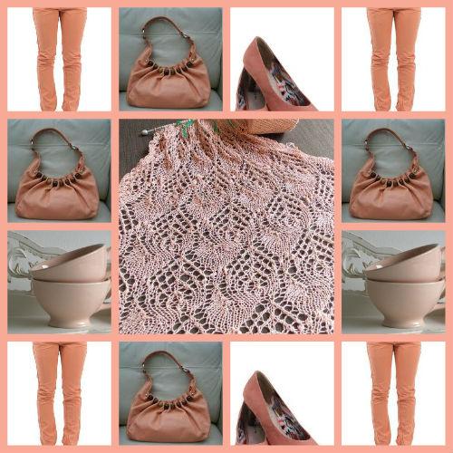 Gebreidesjaals zalmkleur is een mooie zomerse kleur voor een zomersjaal van glanskatoen - Kleur voor een entry ...