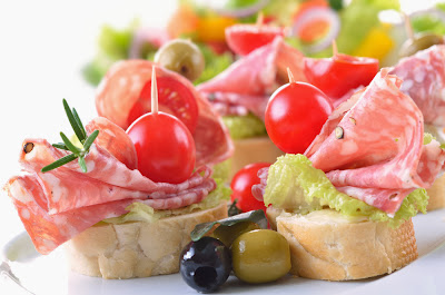 simple and super easy baby shower food ideas, dessert inspirations - italian salami and ripe cherry tomato snack