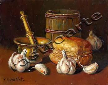 Bodegón de ajos y pan, con un almirez de latón y barrilete de madera