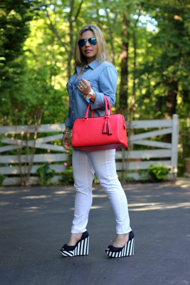 White Jeans - Zara, Keeper Chambray Shirt - J Crew, The Bright Side Shirt Collar Necklace - Carolee, Shoes and Bracelets - TJ Maxx,  Aviator Sunglasses with Blue Lenses - Ray Ban, Coral Legacy Leather Haley Satchel Purse - Coach