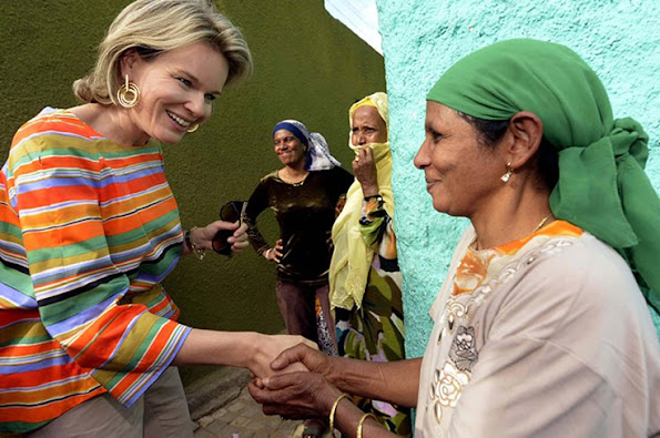 Queen Mathilde of Belgium is welcomed as she arrives to Langae Health center on the third day, part of a four days visit of Belgium Queen in Ethiopia