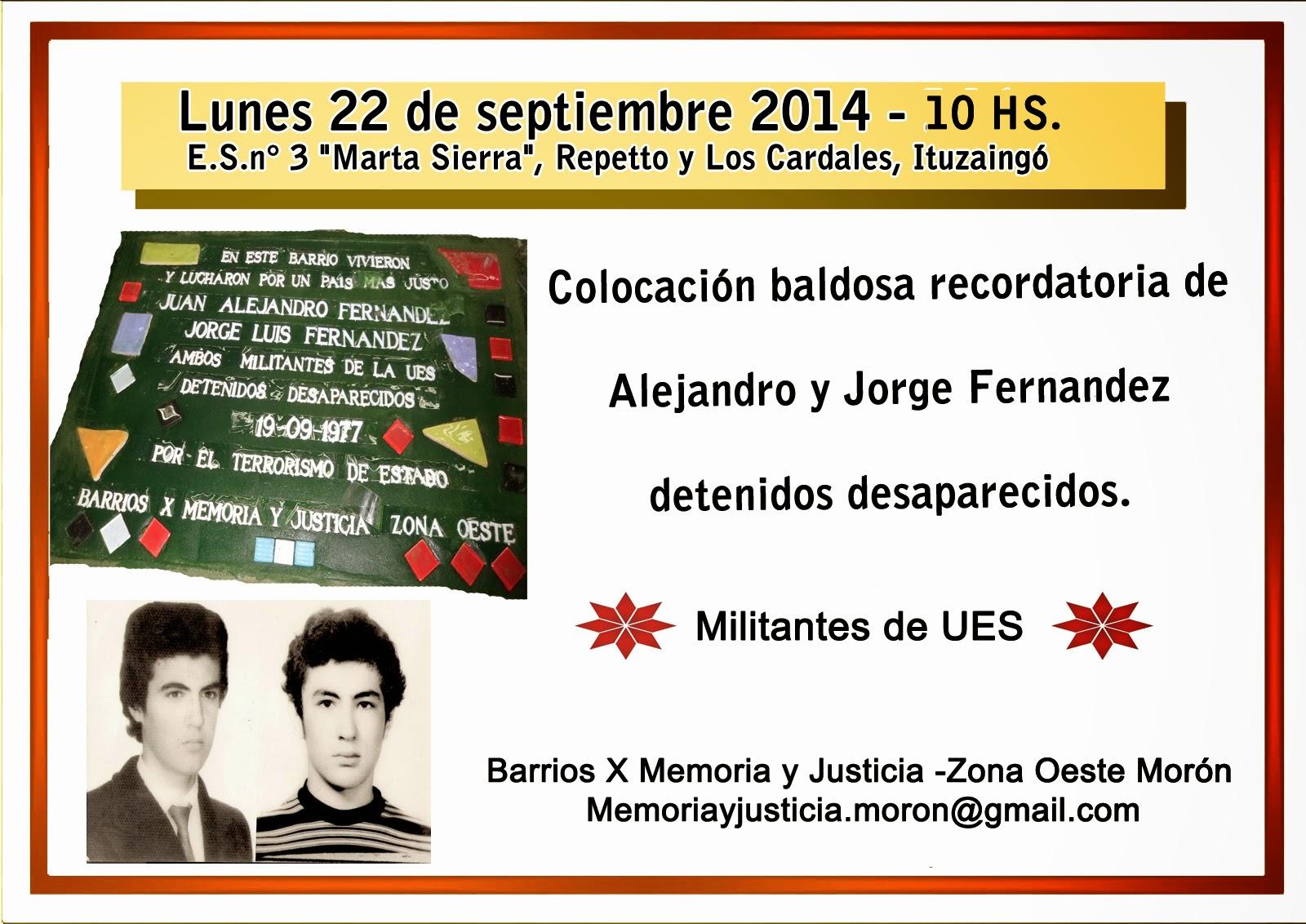 Colocación de Baldosas en Homenaje a desaparecidos
