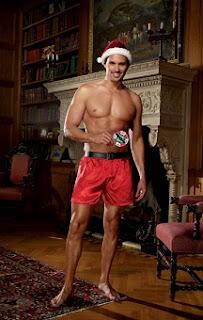 Satin boxer, santa's hat and cardboard strip tease game red
