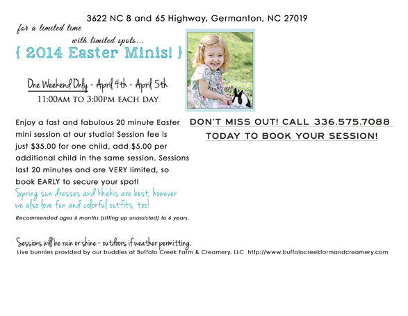 winston salem easter pictures with live bunny photography sessions