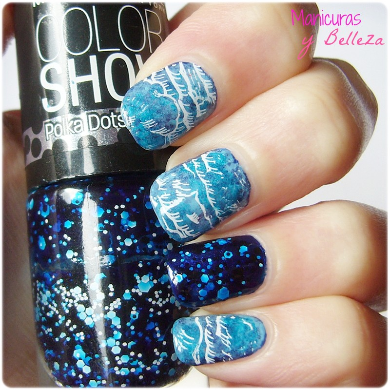 manicura nubes clouds nail art moyou london artist collection 10 stamping plates placas estampación blue nails uñas azul jelly sandwich Maybelline