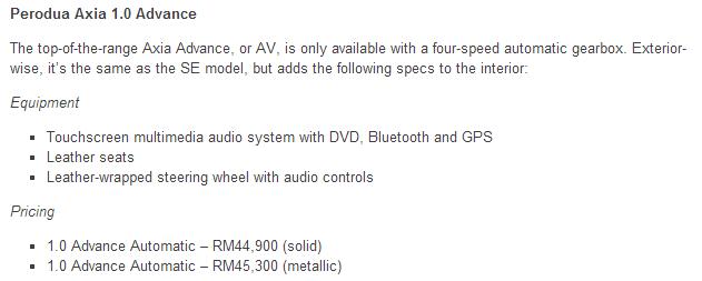 Spesifikasi Perodua Axia 1.0 Advance