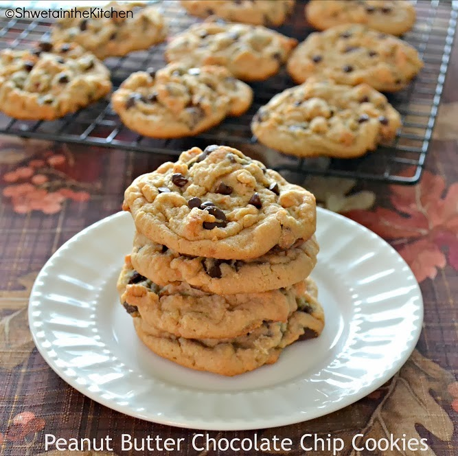 Finally posting my 100th recipe - Peanut Butter Chocolate Chip Cookies ...