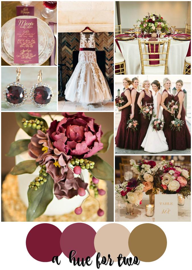 Bordeaux Marsala Cream And Gold Elegant Wedding Colour Scheme A Hue For Two