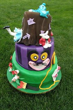 3-tier whimsical fondant Alice in Wonderland