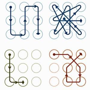 Os dois padrões da direita produzem uma pontuação de complexidade mais alta do que os da esquerda