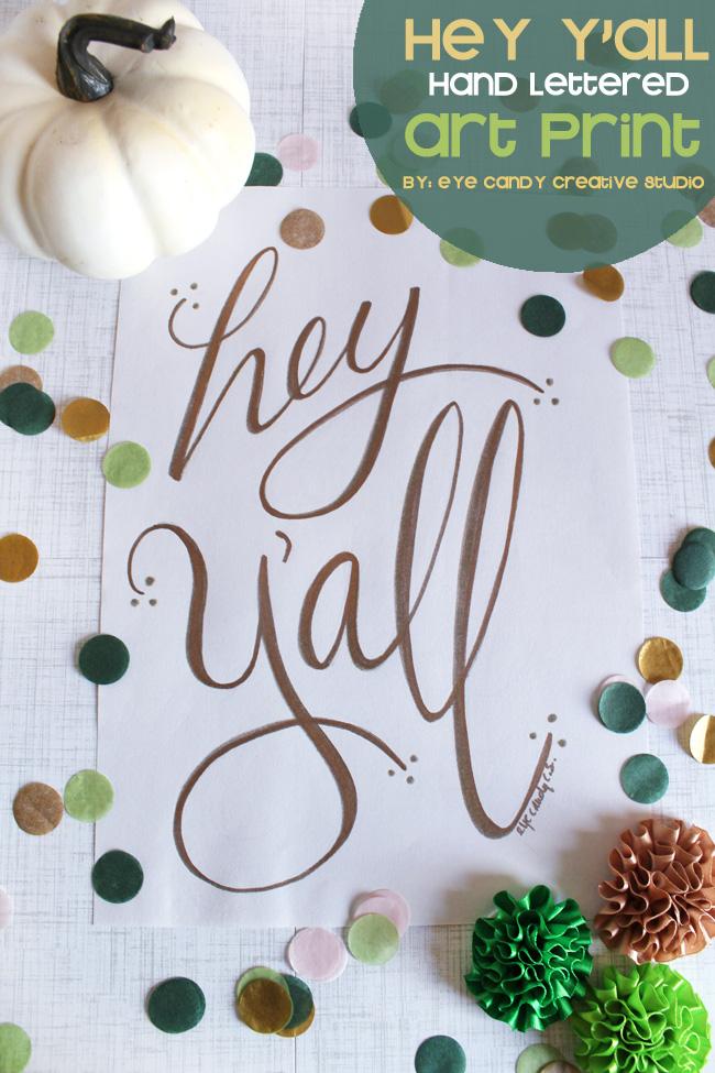 hey y'all print, hand lettering, gold art print, pumpkin, framed art