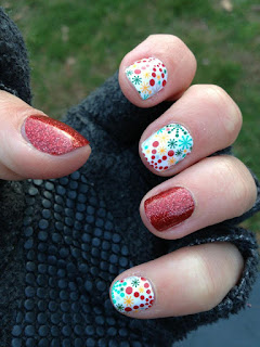 Holiday Snowflakes and Red Sparkle #nailart manicure from Jamberry Nails